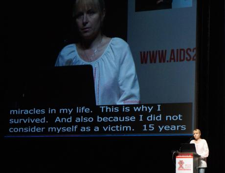 Svitlana Moroz from Positive Women at AIDS 2016, Durban, South Africa. Source: Club Svitanok.